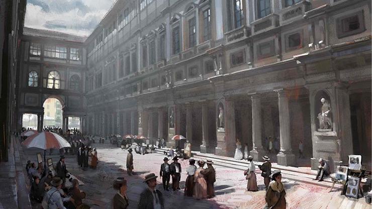 Историческая картина, изображающая галерею Уффицы