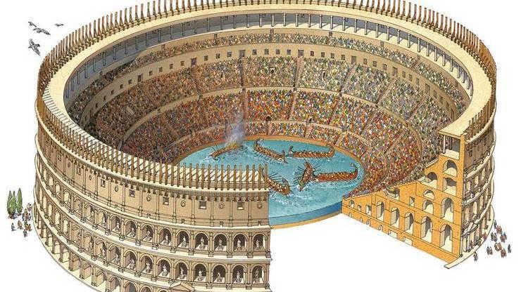 Грандиозное морское сражение, устроенное в честь открытия арены
