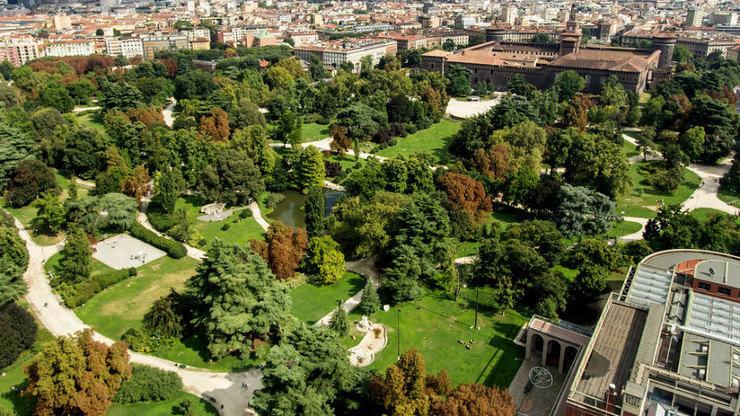 Вид  сверху на пруд, деревья и дворцы