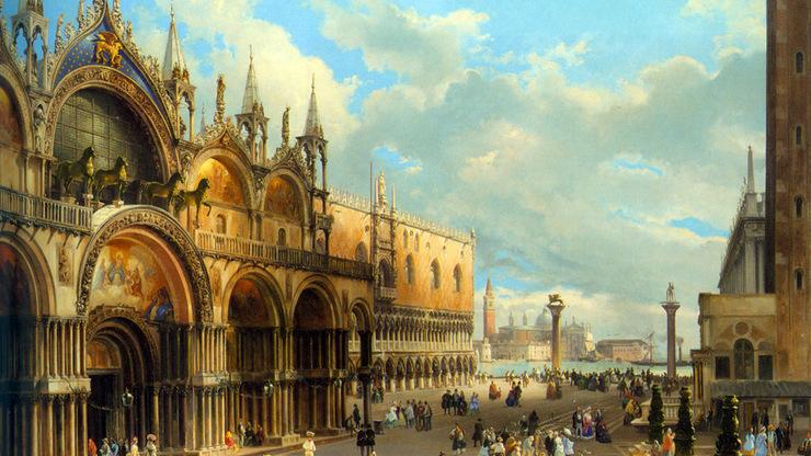 Венецианский храм на картине художника
