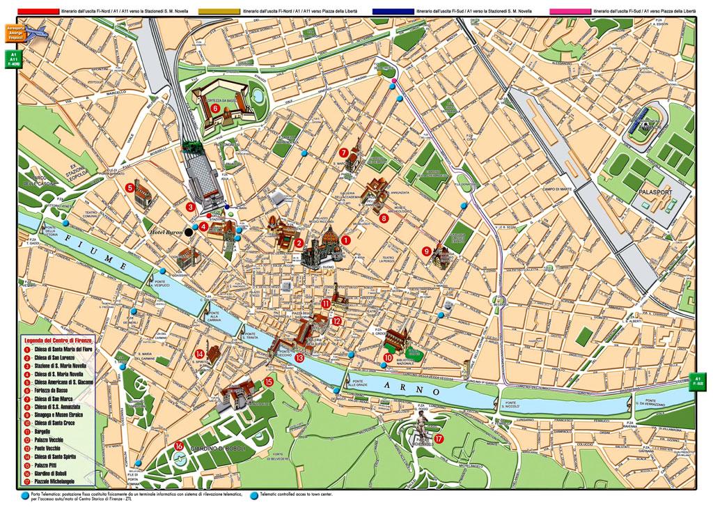 Туристическая карта Флоренции с отмеченными достопримечательностями